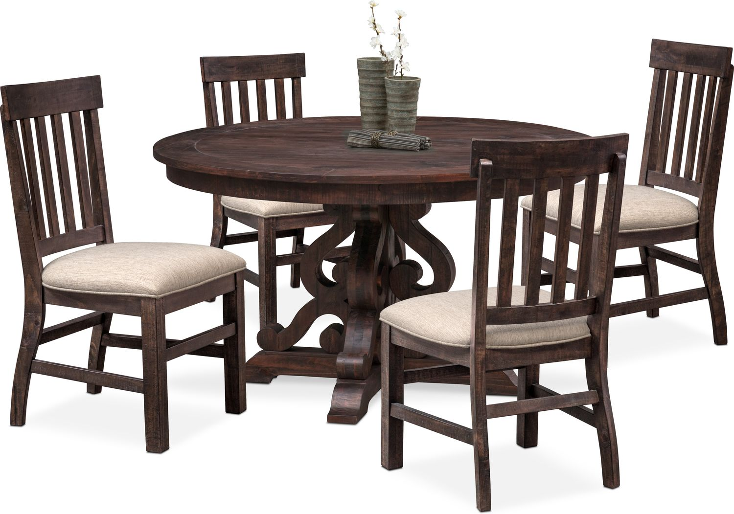 Hover Round Chairs Charthouse Round Dining Table And 4 Side Chairs