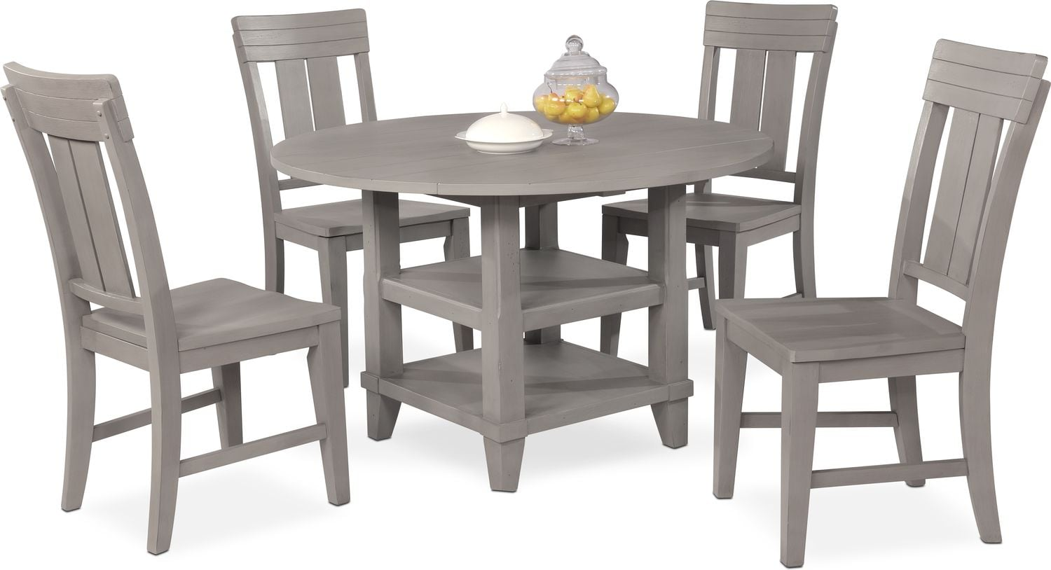 Round Back Dining Room Chairs New Haven Round Dining Table And 4 Slat Back Side Chairs