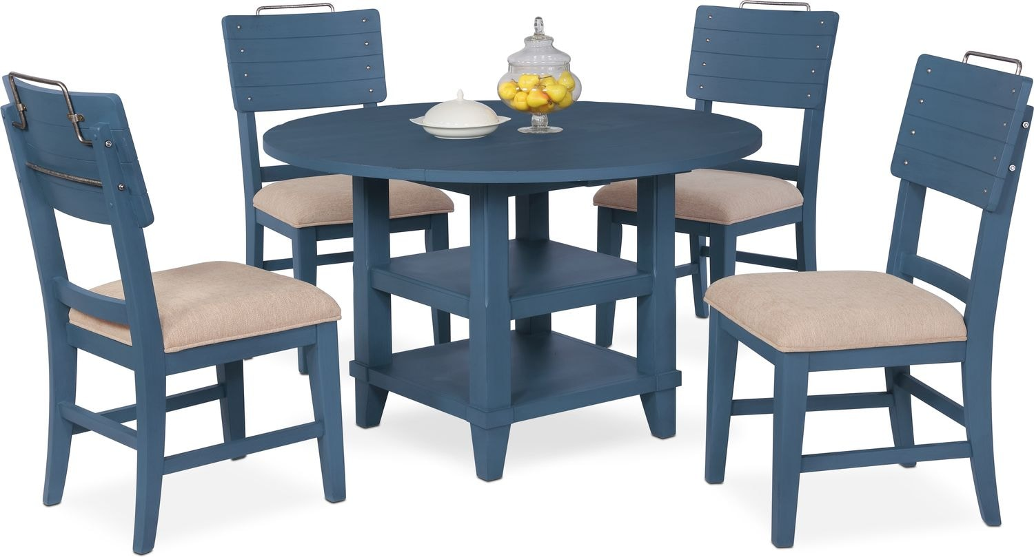 Hover Round Chairs New Haven Round Dining Table And 4 Shiplap Side Chairs Blue