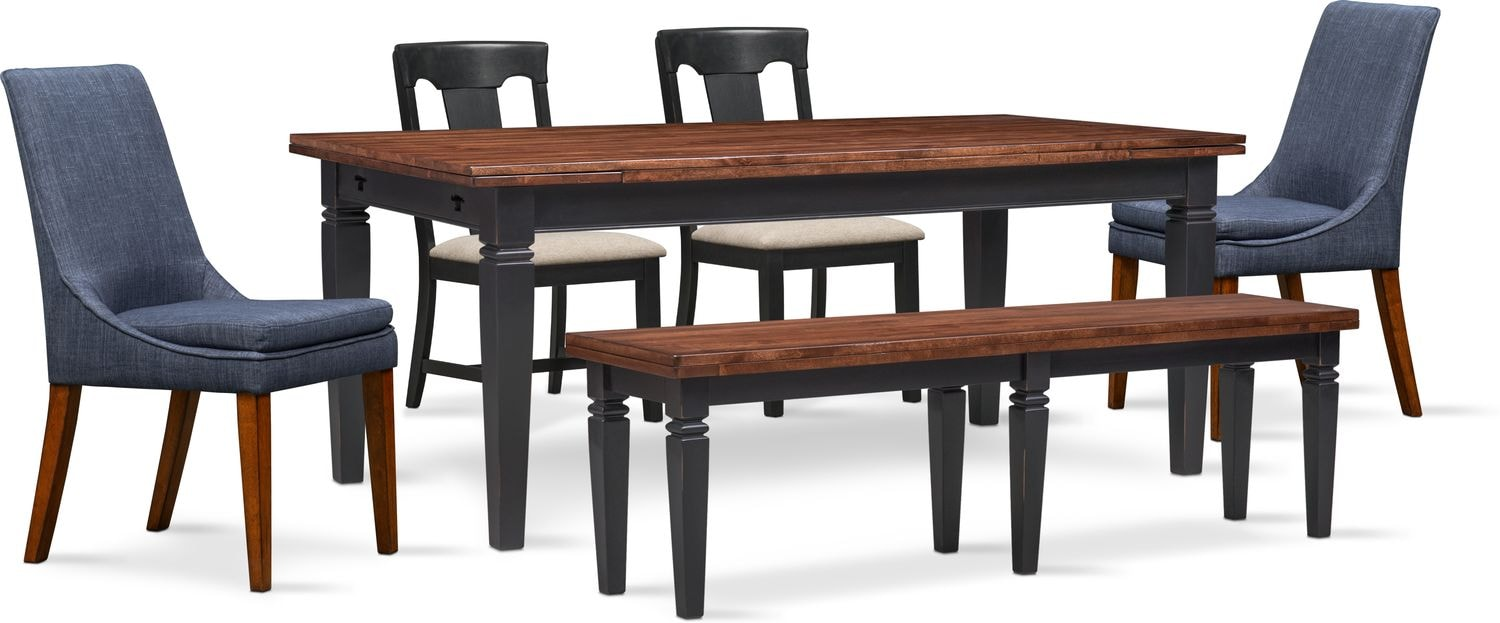 Table With 2 Chairs Adler Dining Table 2 Side Chairs 2 Upholstered Side Chairs And Bench Black