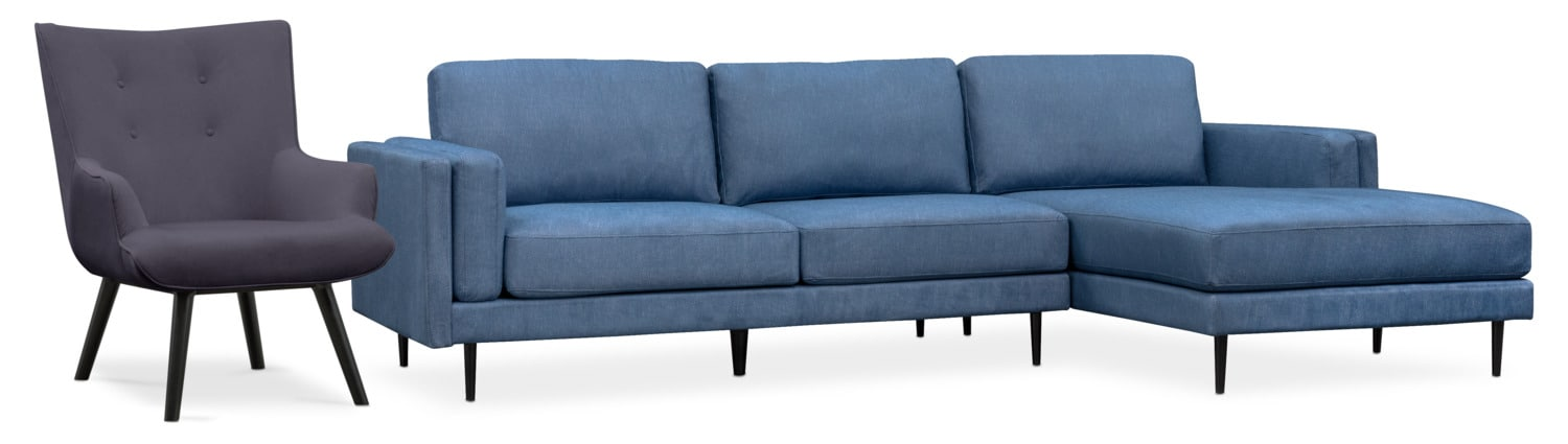futon and chair set dining room chairs south africa west end 2 piece sectional accent american signature