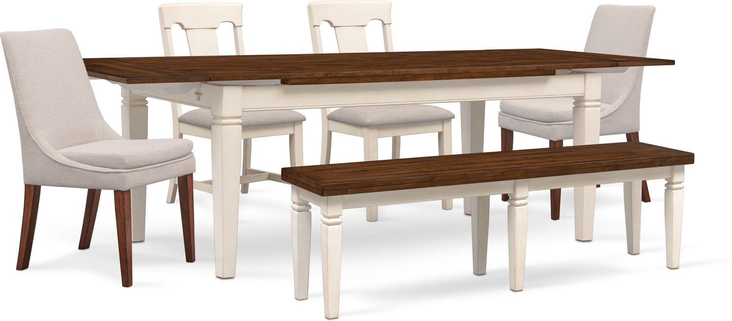 Dining Room Upholstered Chairs Adler Dining Table 2 Side Chairs 2 Upholstered Side Chairs And Bench