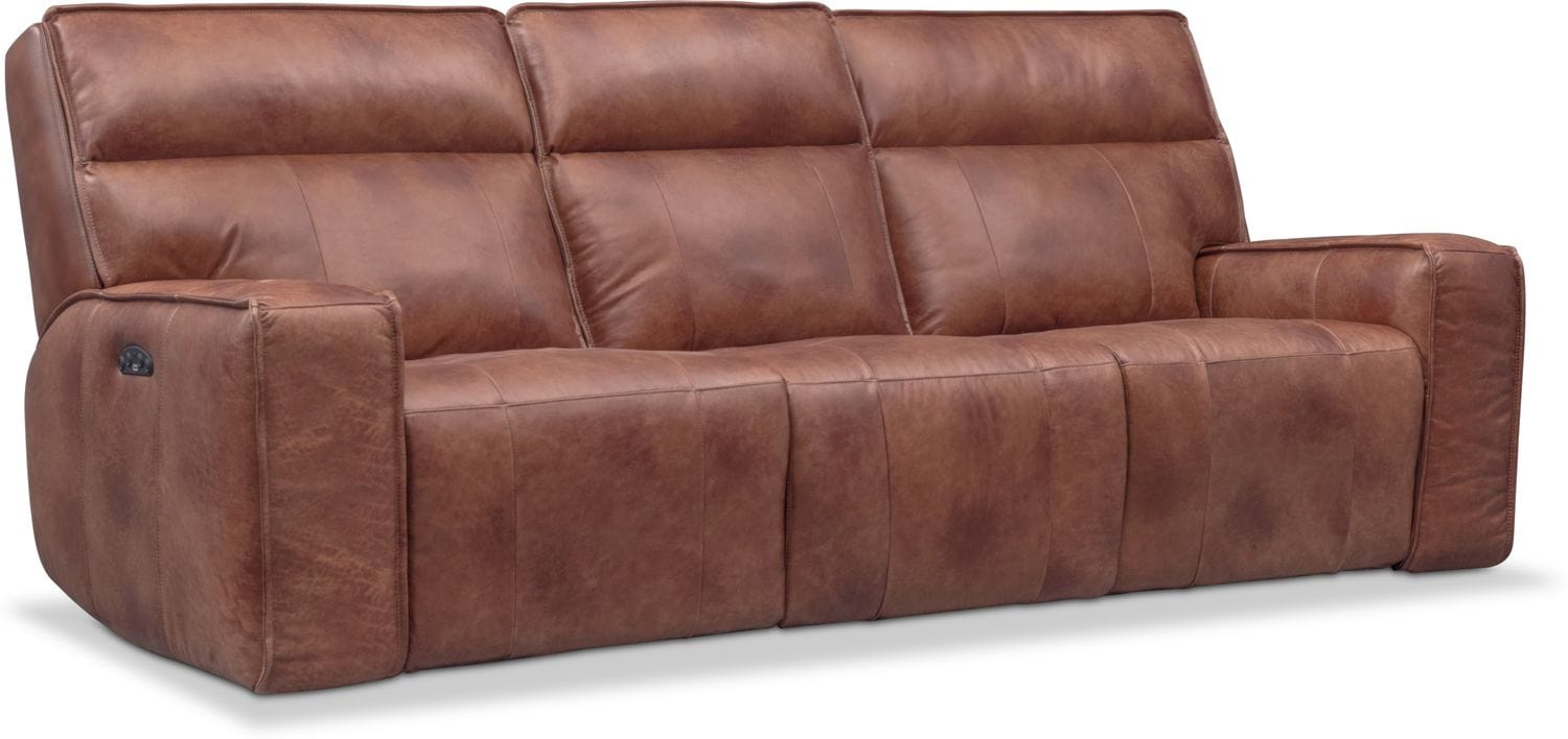 reclining sofa leather brown curved sectional sofas for small es living room furniture american signature bradley triple power and recliner set