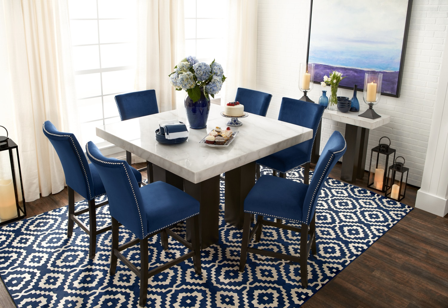 Artemis Counter Height Dining Table And 6 Upholstered
