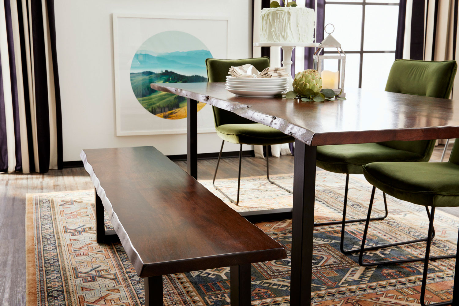 green dining room table and chairs black barrel chair portland 4 upholstered side bench