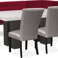 Gray Side Chair Covers And Sashes Hire Artemis Dining Table Corner Banquette 2 Upholstered Chairs Burgundy