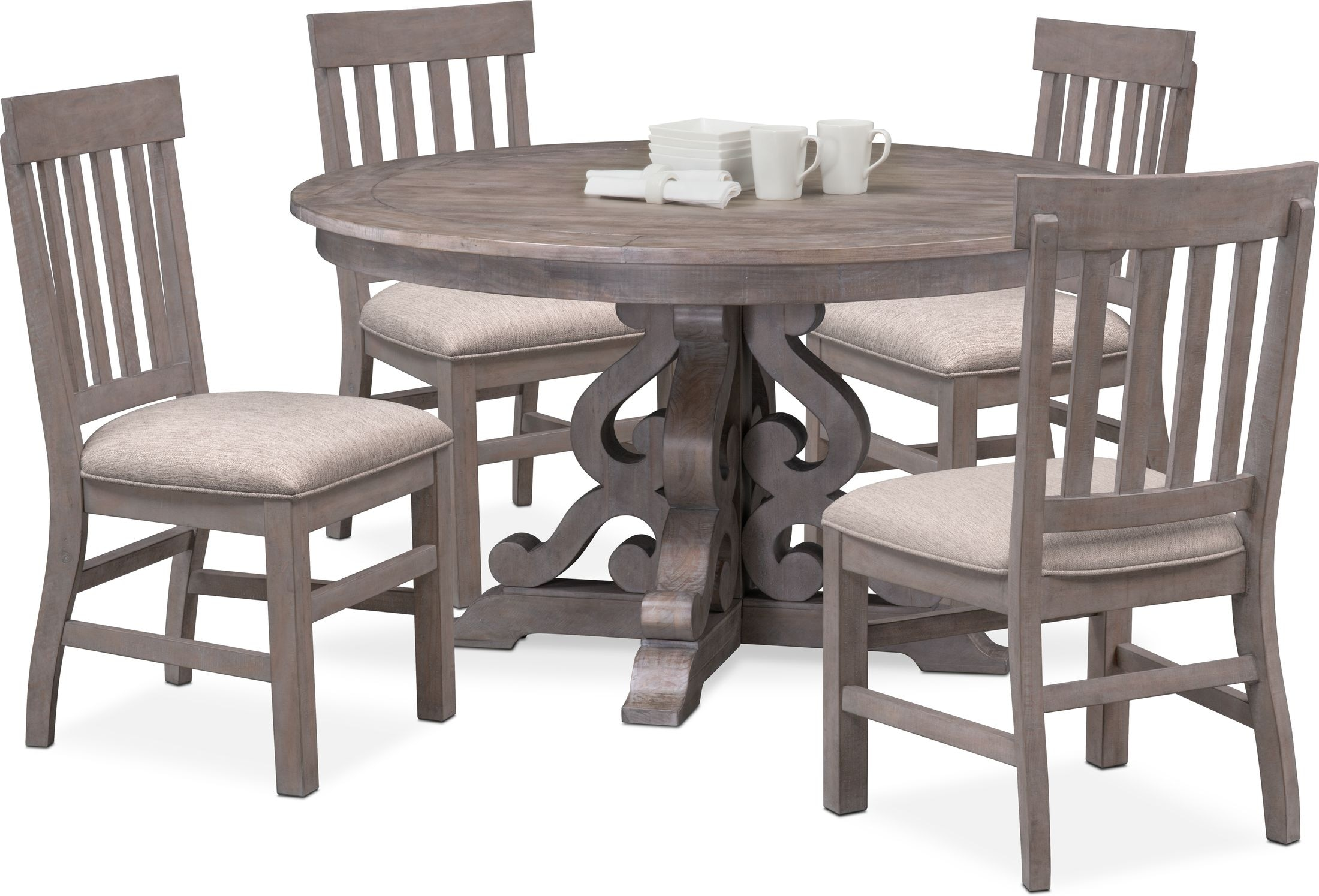 Charthouse Round Dining Table And 4 Side Chairs American Signature Furniture