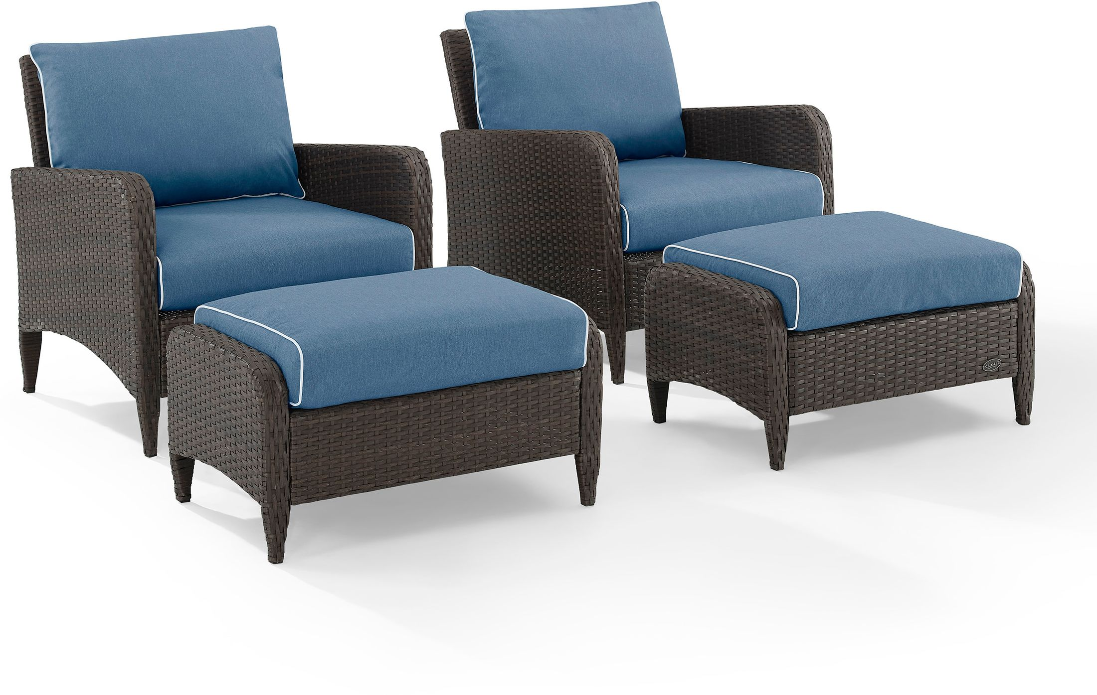 corona set of 2 outdoor chairs and ottomans
