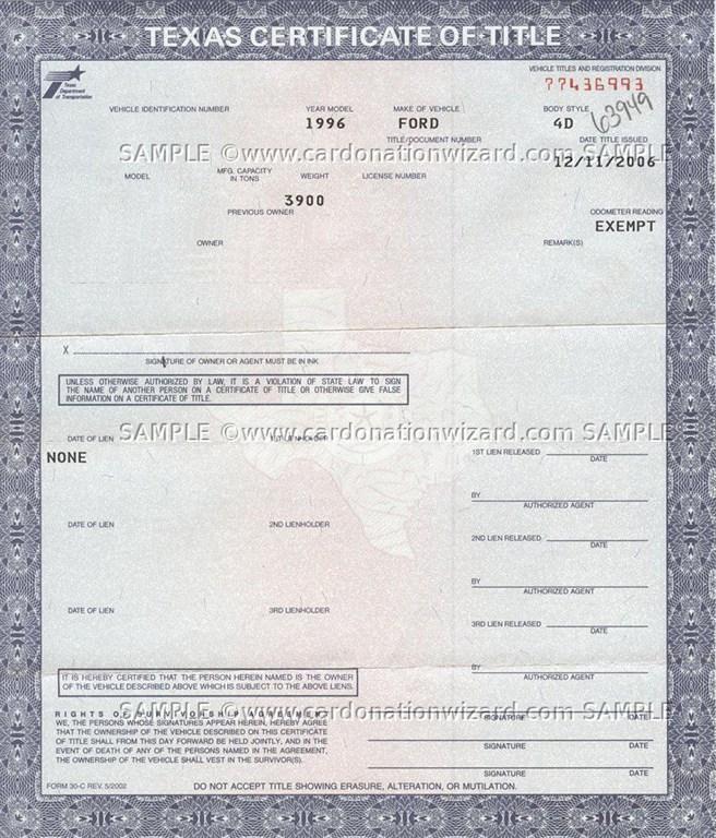 Texas Vehicle Registration Receipt Copy