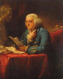 Older Benjamin Franklin on chair reading papers painting.
