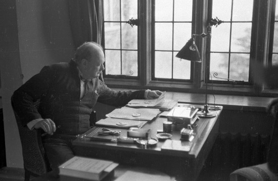 winston churchill working at desk