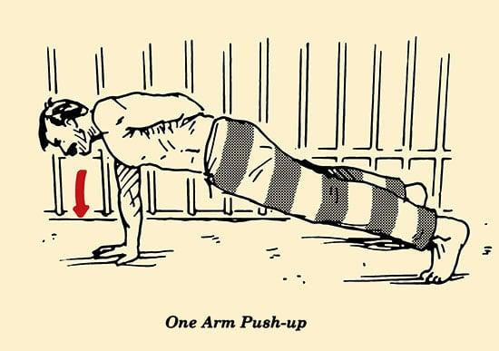 illustration, one-arm push-up, prisoner workout, convict conditioning, bodyweight exercises