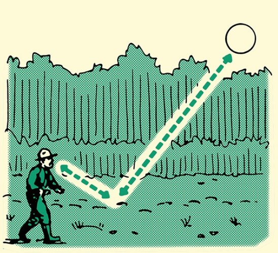 man tracking humans using angle of sunlight to help illustration