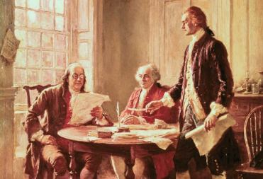 benjamin franklin at table with men discussing papers painting