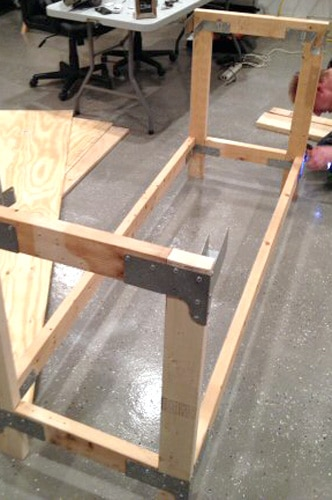 Base of plywood table.