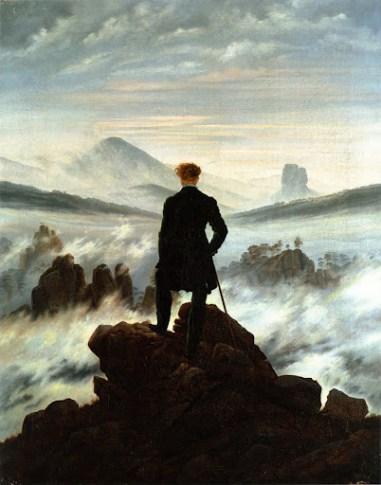 wanderer painting man looking far off into crashing sea