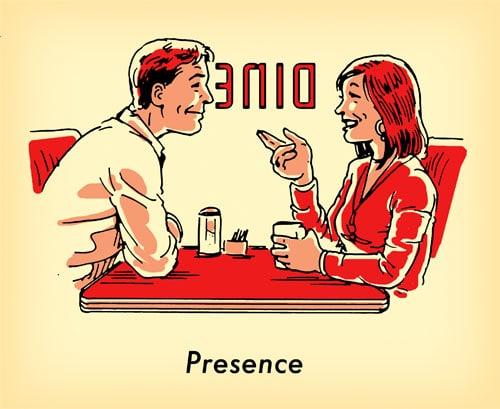hombre mujer juntos en la vieja ilustración de comedor escolar