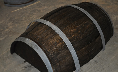 coffee table from a whiskey barrel