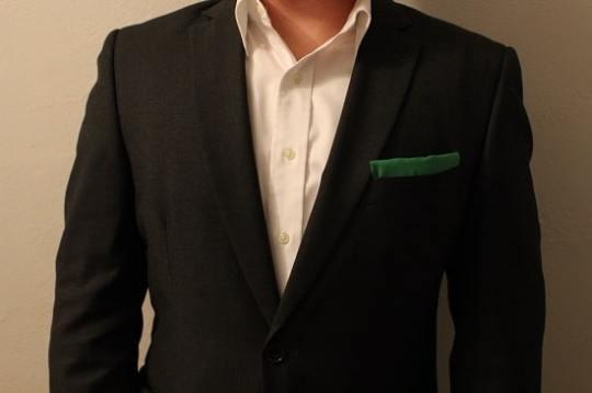 diy pocket square with suit jacket hem tape