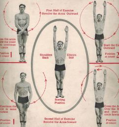 for the first part of the exercise cross your arms below the waist then raise them above the head in a circular motion with the arms revolving to face  [ 826 x 974 Pixel ]