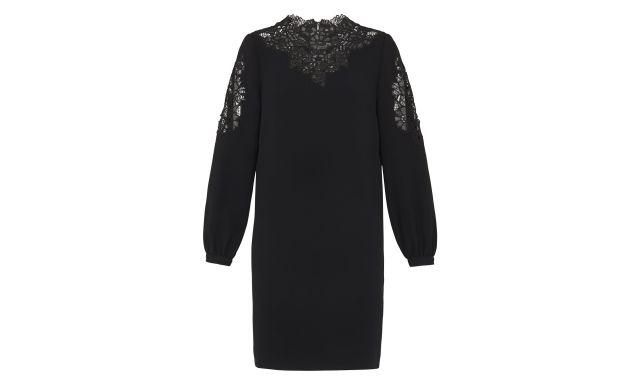 model wearing Whistles Briar Cutwork black Dress