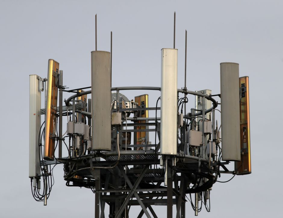 A mobile phone mast in Basingstoke, Hampshire, as Chancellor Philip Hammond said that the investment of £1 billion in high-speed fibre broadband across the country and 5G mobile data trials will help create a