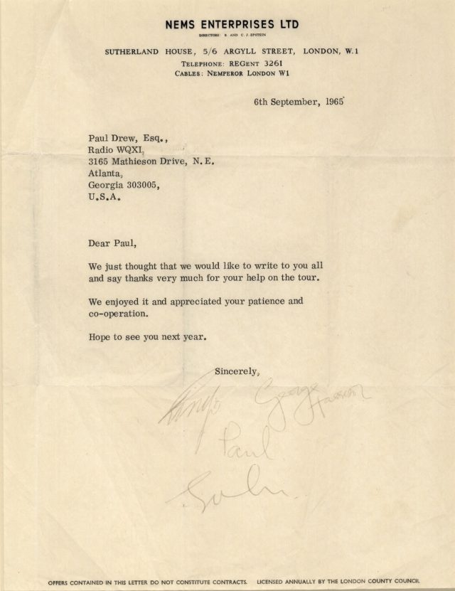 Letter signed by all four members of The Beatles (Henry Aldridge and Son/PA)
