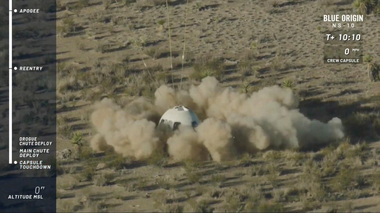 The New Shepard capsule lands at Blue Origin's site in west Texas