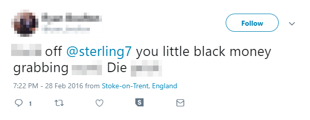 A screenshot of one of the abusive tweets aimed at Sterling
