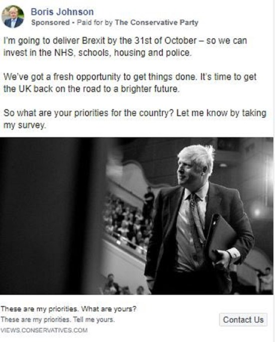 An advert on Boris Johnson's page (Conservatives/Facebook)