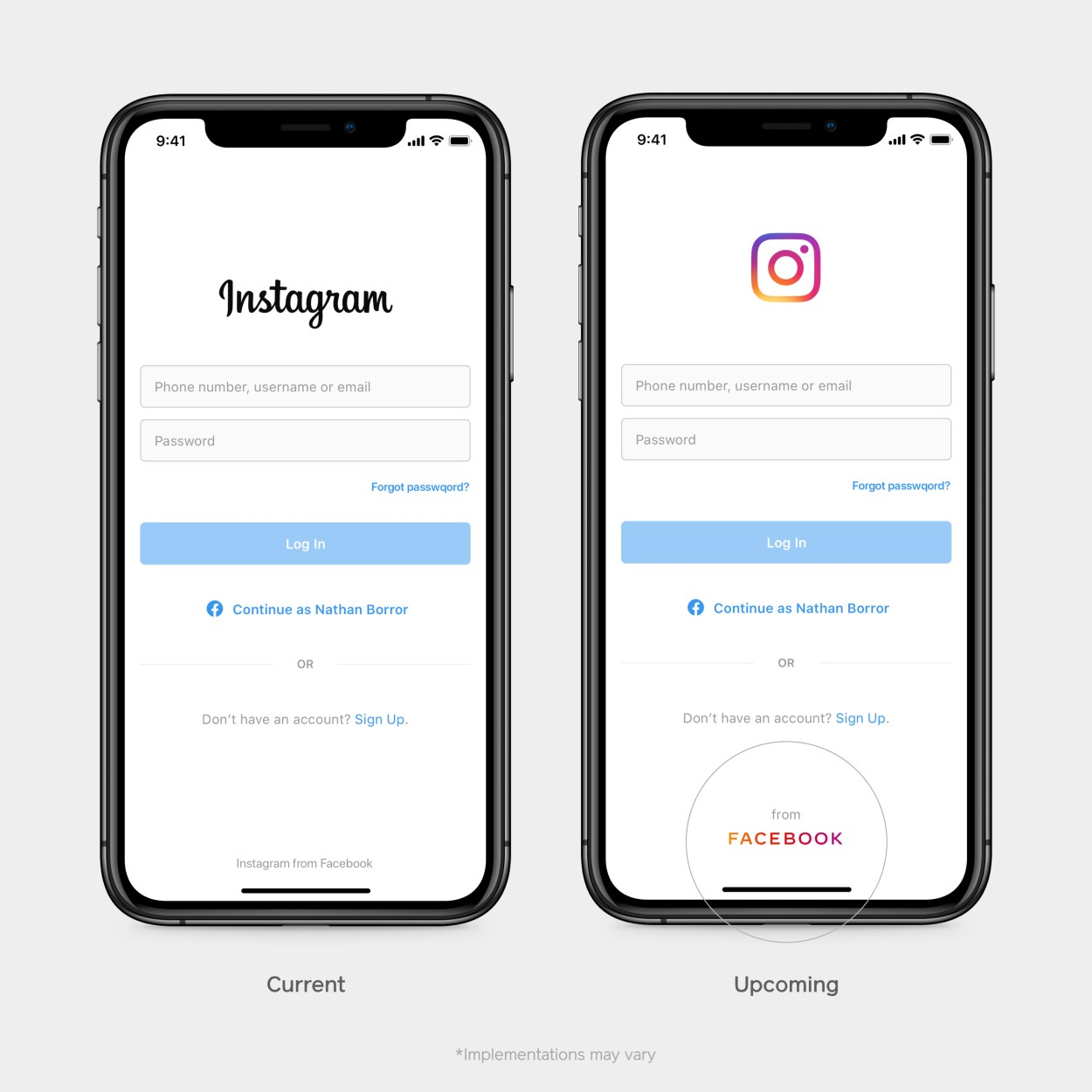 How Facebook's new corporate logo will appear on Instagram