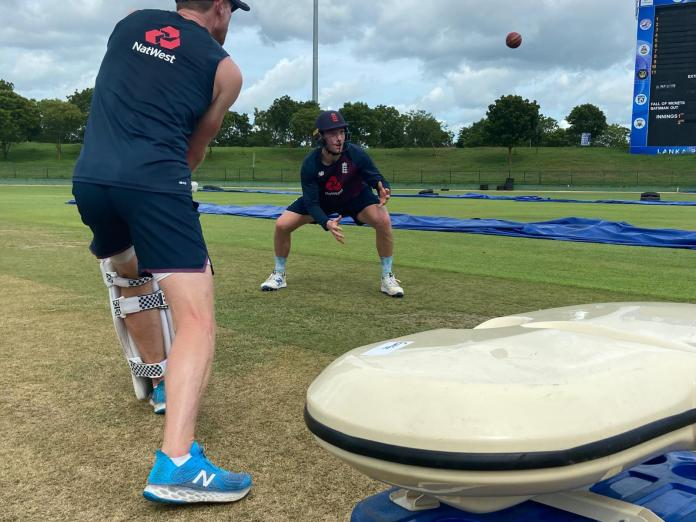 James Bracey practises with Paul Collingwood