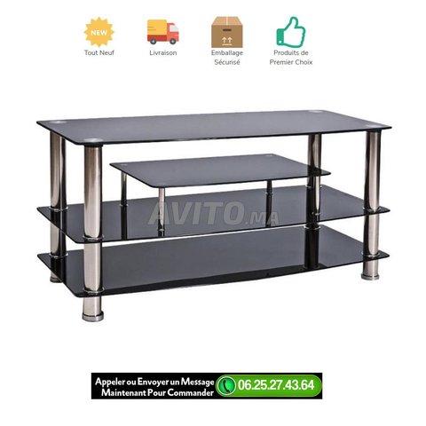 meuble tv en verre noir avec pied en acier inox