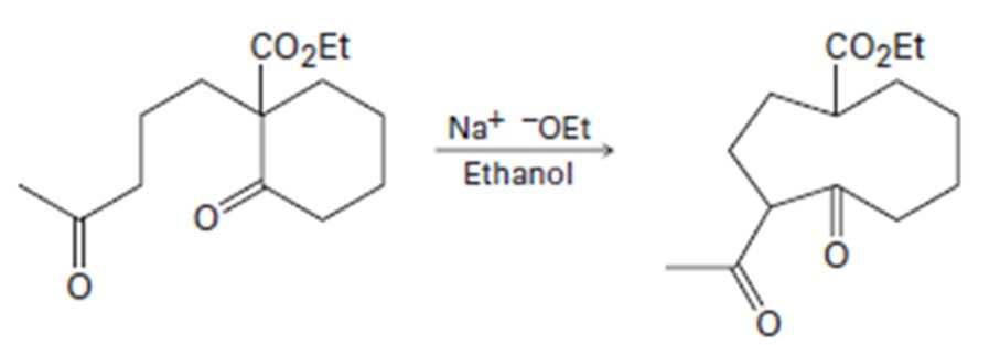 The following reaction involves an intramolecular aldol