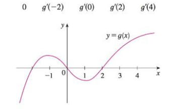 For the function g whose graph is given, arrange the