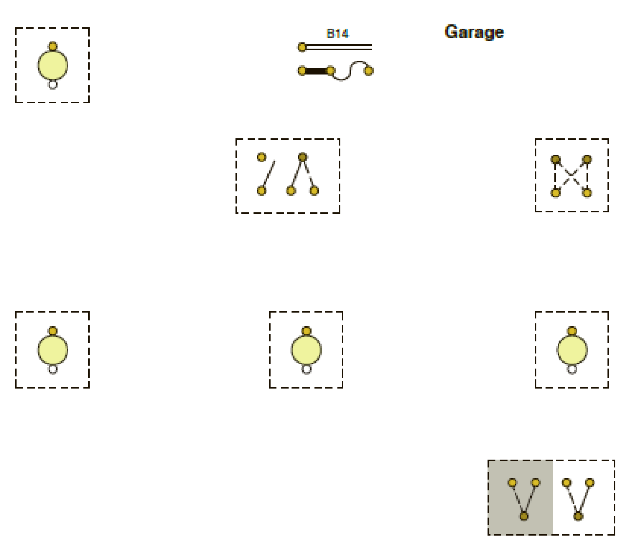 Using the suggested cable layout of the garage lighting