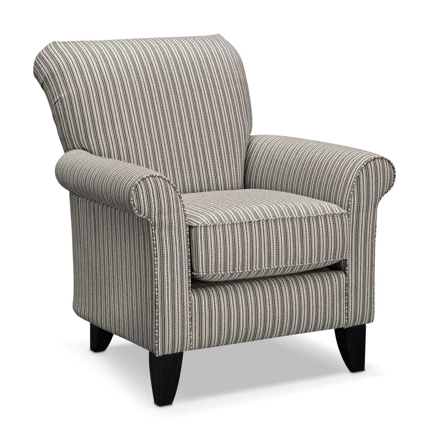 occasional living room chairs lightweight beach chair backpack colette accent gray stripe value city furniture