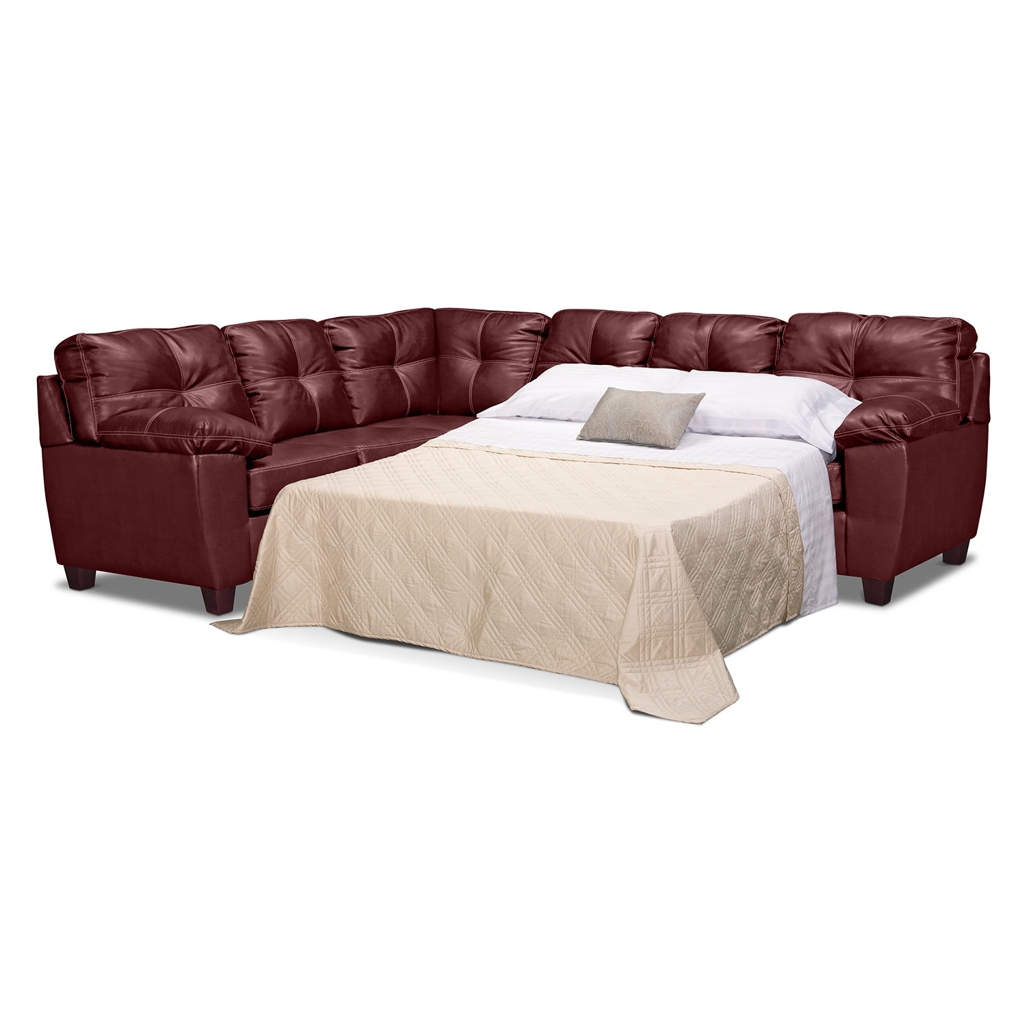 rialto sofa bed down filled ii leather 2 pc sleeper sectional value city