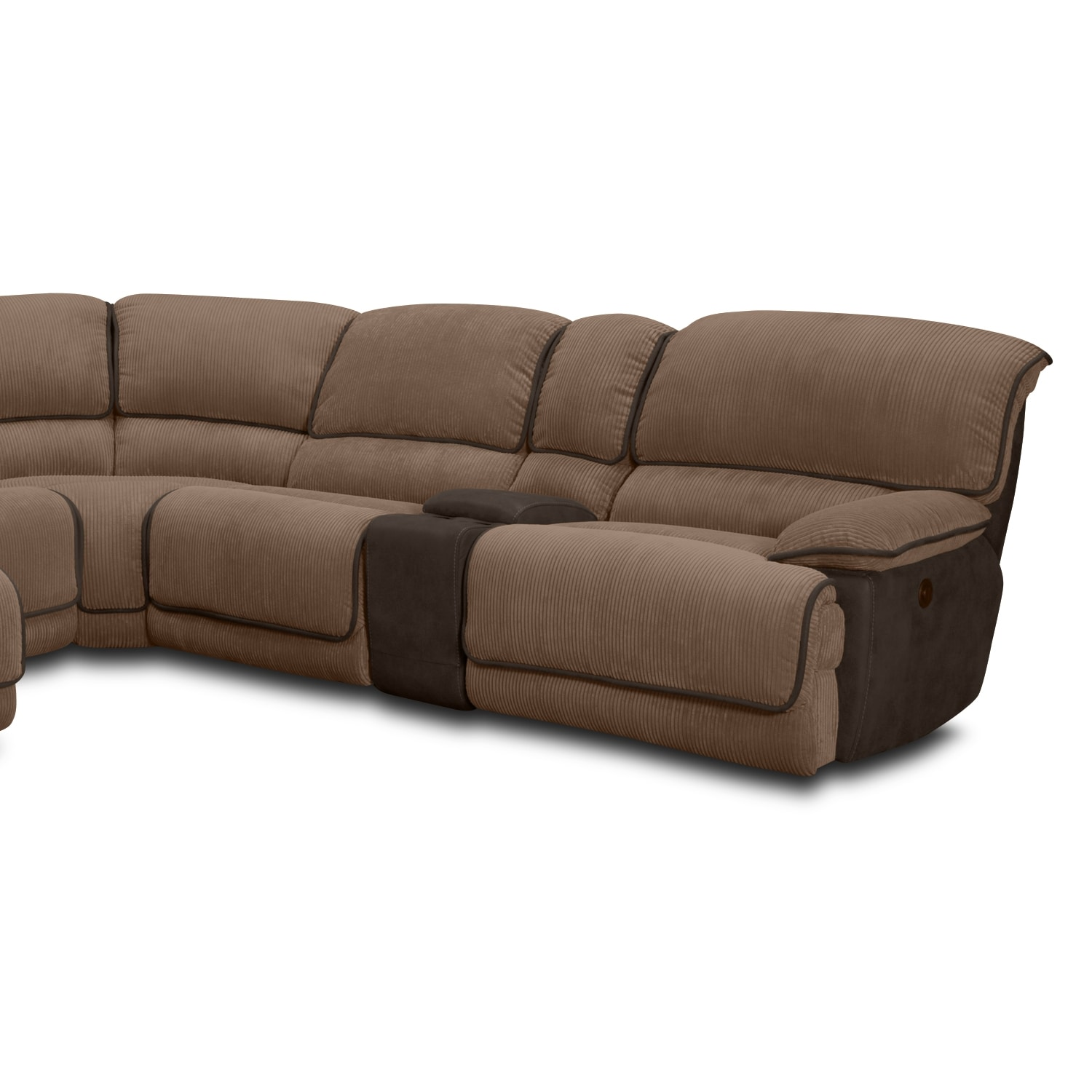 justin ii fabric reclining sectional sofa mart furniture warranty del mar upholstery 6 pc power