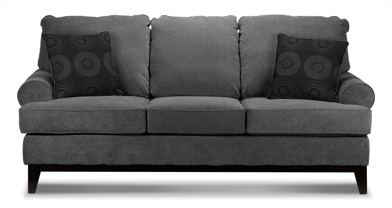 leon s sofas tomas fabric sofa chaise convertible bed dark gray crizia grey 39s