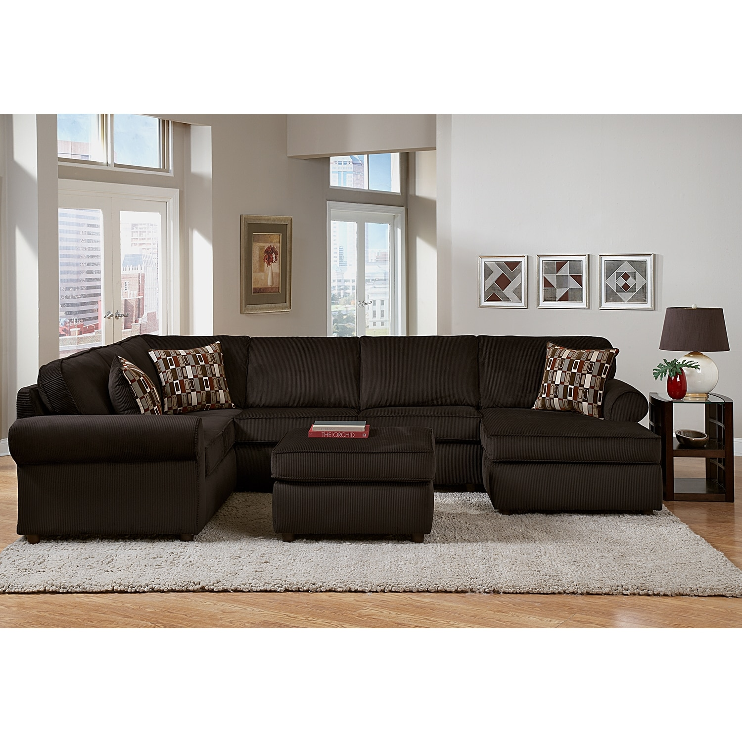 chocolate brown living room chairs clean rug monarch 3-piece sectional - | value city furniture