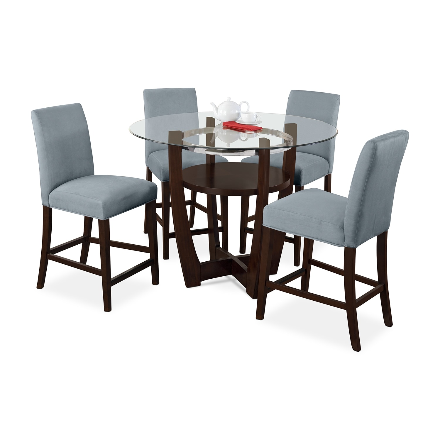 Aqua Dining Chairs Alcove Counter Height Dinette With 4 Side Chairs Aqua
