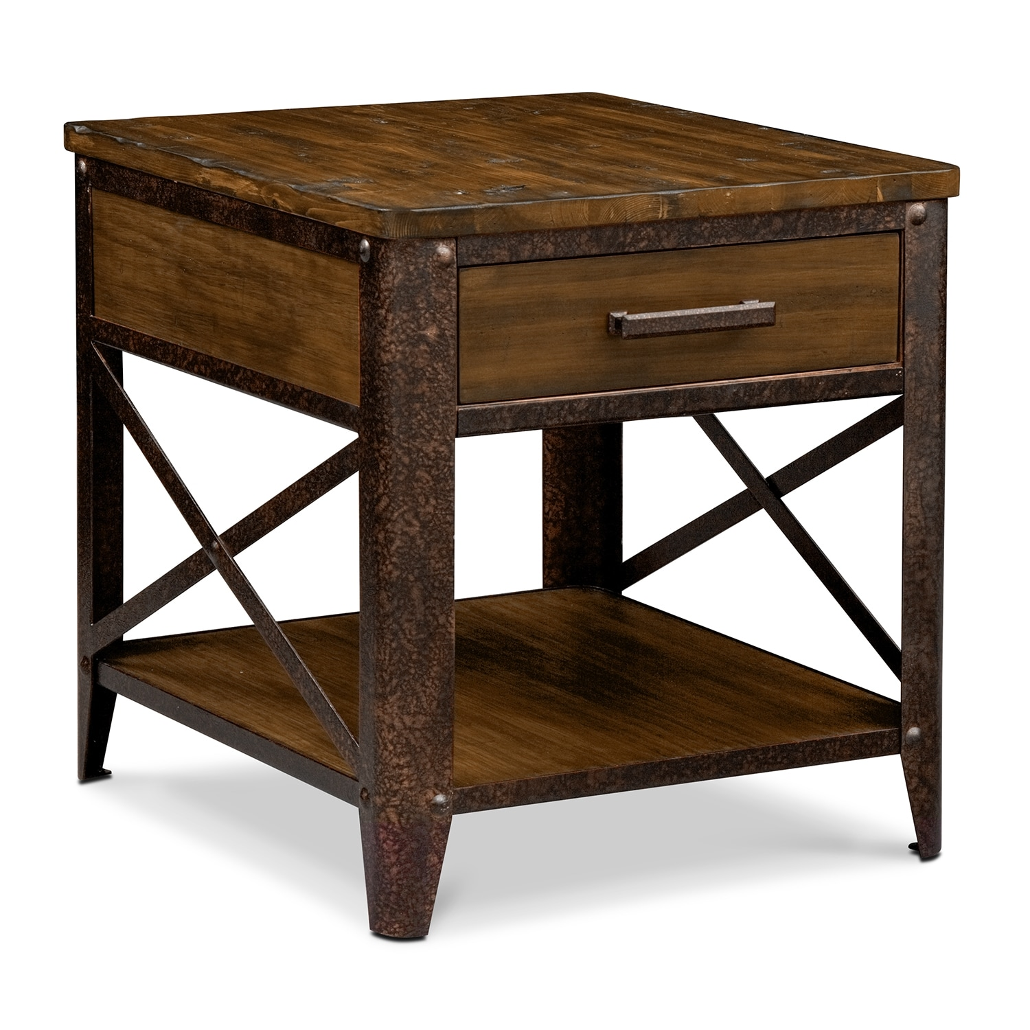 occasional table and chairs round corner chair shortline end distressed pine value city furniture