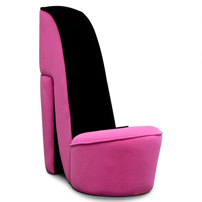 pink high heel chair office chairs lumbar support best jordan shoe upholstery accent value city furniture