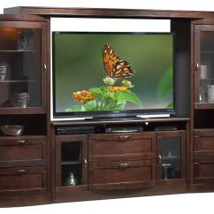 Kitchen Aid Tv Offer Windsor Chairs Huxley 4-piece Entertainment Wall Unit - Java Maple   Leon's