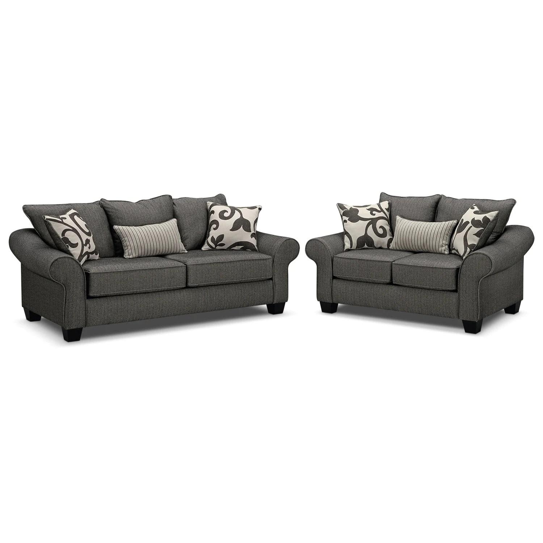 Colette Sofa And Loveseat Set - Gray American Signature