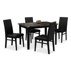 Black Dining Table And Chairs Mesh Patio Shadow 4 Value City Furniture