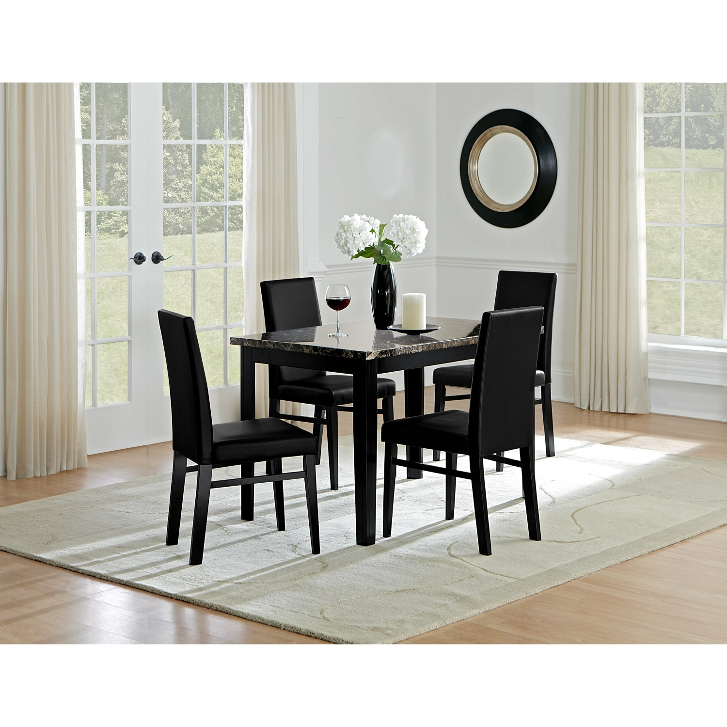 value city dining table and chairs textoline reclining garden chair argos shadow 4 black furniture