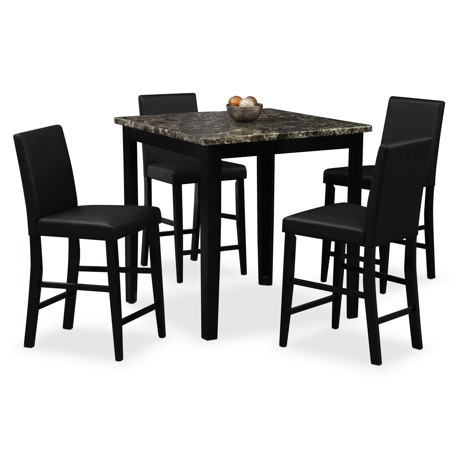 Counter Height Dining Room Chairs Shadow Counter Height Table And 4 Chairs Black Value
