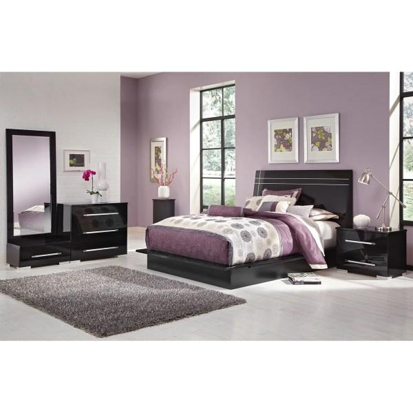 black queen panel bedroom set Dimora 6-Piece Queen Panel Bedroom Set - Black   American Signature Furniture